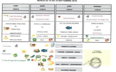 menus de la semaine du 10 au 14 septembre 2018