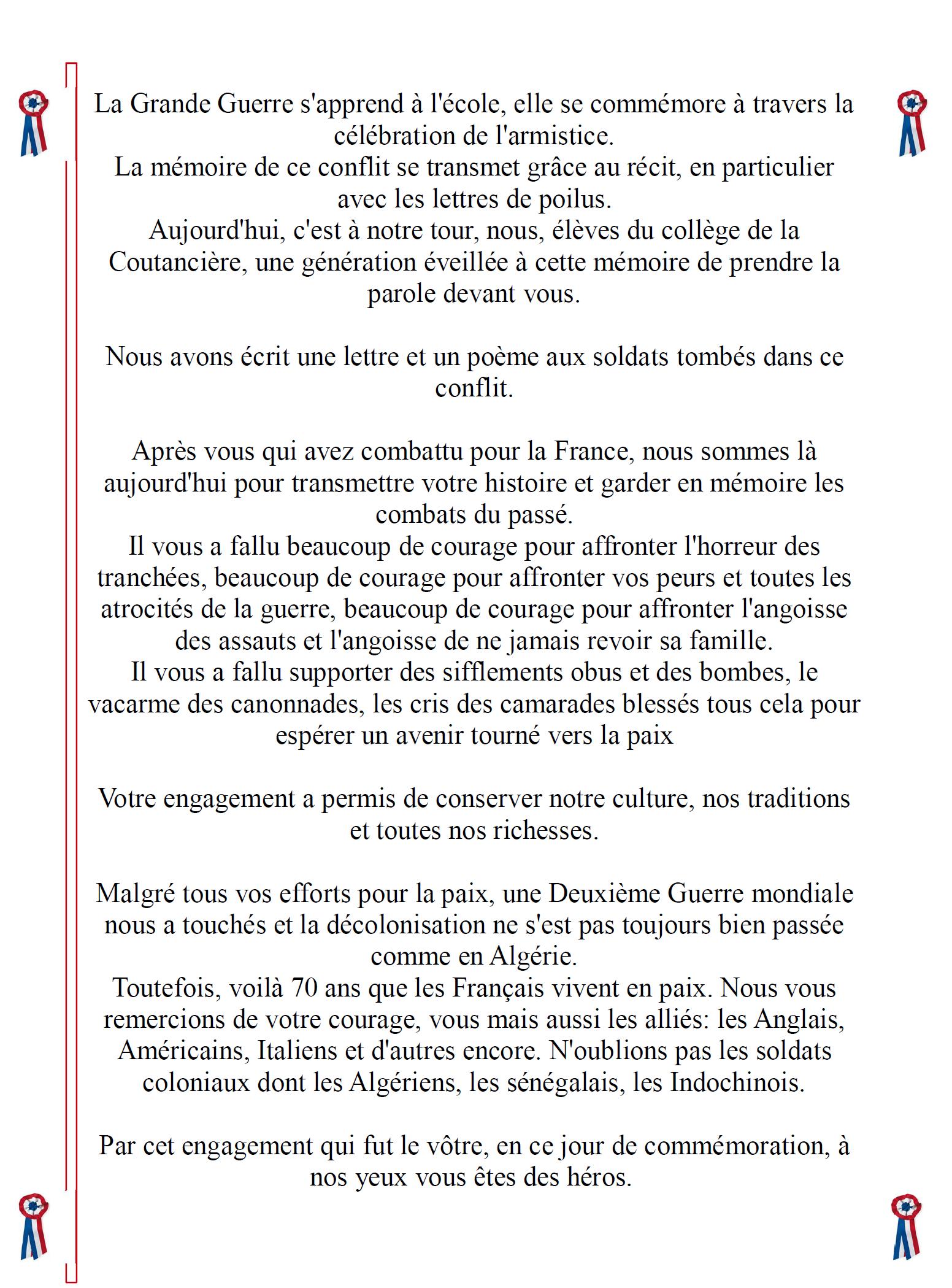 Commémoration Du 11 Novembre 1918 Collège La Coutanciere